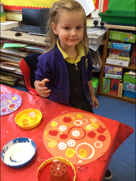 Mrs McCann's P1 Class: painting..pizza.