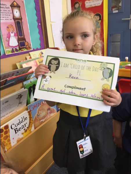Mrs McCann's P1 Class: receiving compliments.