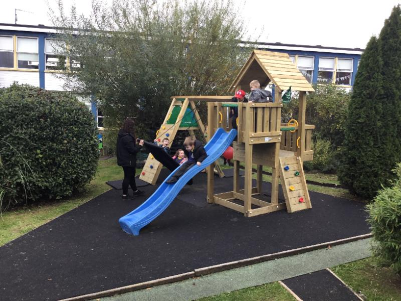 The Nursery children are really enjoying playing on the new Jungle Gym bought with money raised from the sponsored walk in June