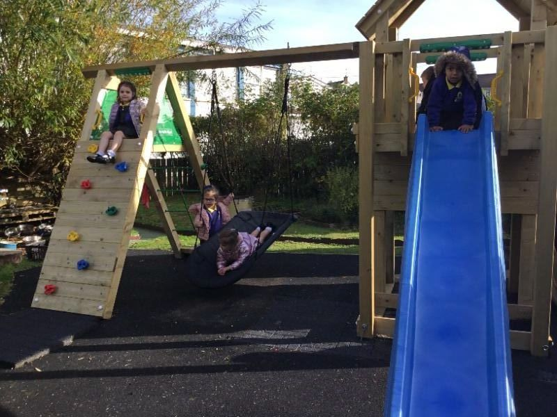 The Nursery children are really enjoying playing on the new Jungle Gym bought with money raised from the sponsored walk in June.