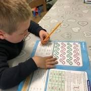 Luke working on some maths