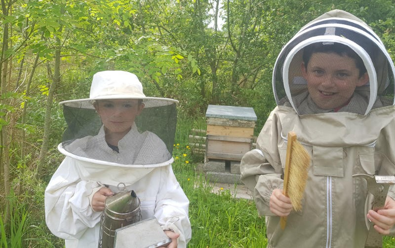 Kyle and Freddie checking out their own bee hive, looking for the queen