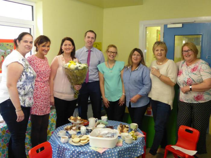 P1  classes held a tea party for Mrs McDonnell on her last day.