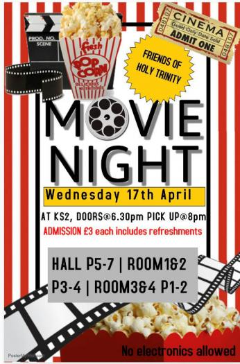 Friends of Holy Trinity have organised a movie night, Wednesday 17th April, 6:30 - 8:00pm, in Cornagrade