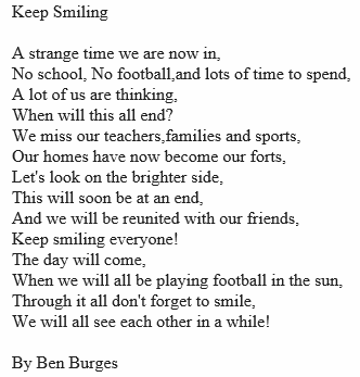 Keep Smiling, a poem by Ben Burges, P4