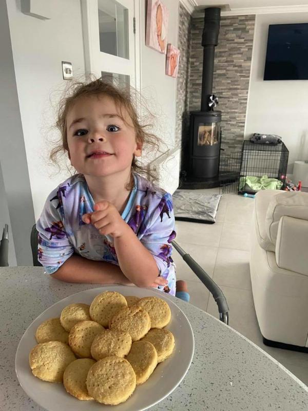 Kara enjoys some baking