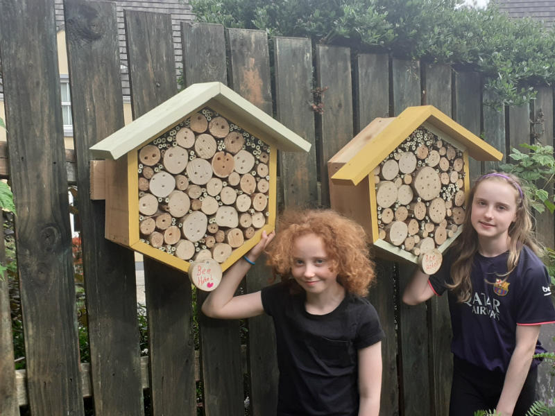 Beatrice and Sofia made Bee Hotels with their dad