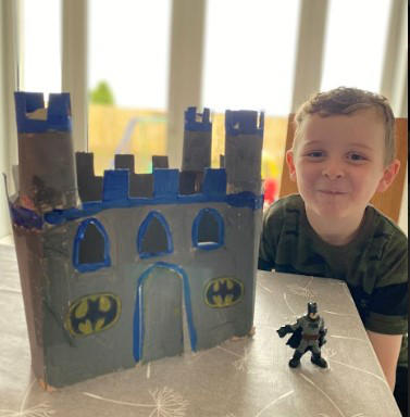 Oisin worked really hard to create a Batcave for his Imaginext toys. Wonderful job Oisin, we love it.