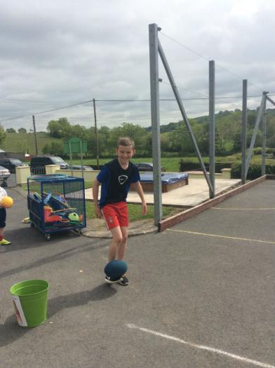 One of our past pupils helping us with Sports Day