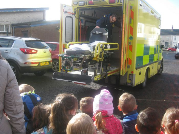 Visiting the ambulance outside