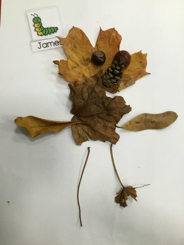 """""""I made it with autumn leaves and conkers. Pine for a nose."""""""