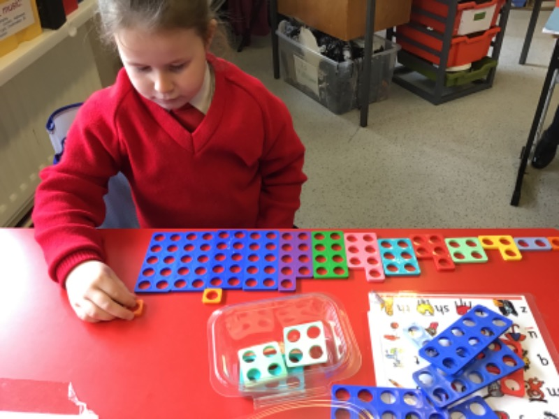 Katie-Sharon calculating what shape she needs to add to 10 to make 12!