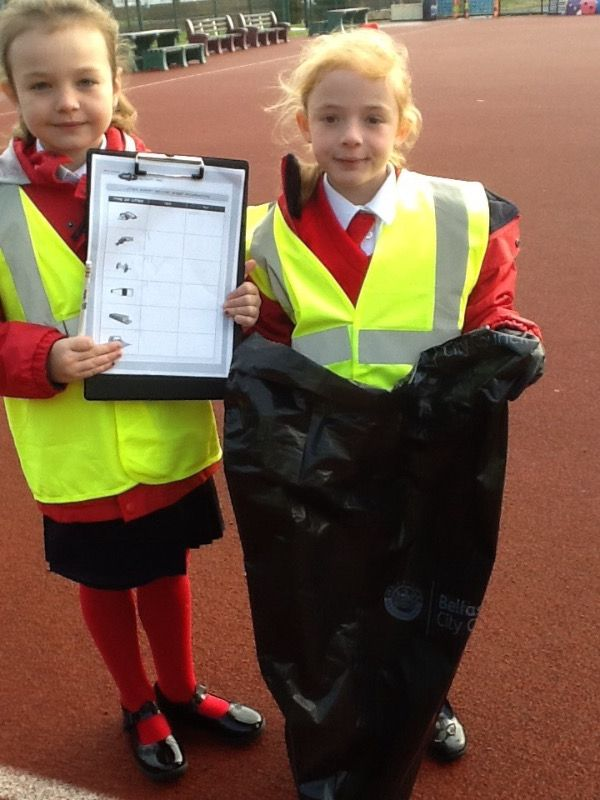 The support team with the litter survey!