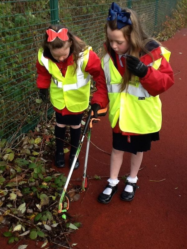 It's a difficult job finding litter in our school. We are so tidy!