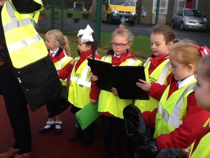 We completed a litter survey in our school area.