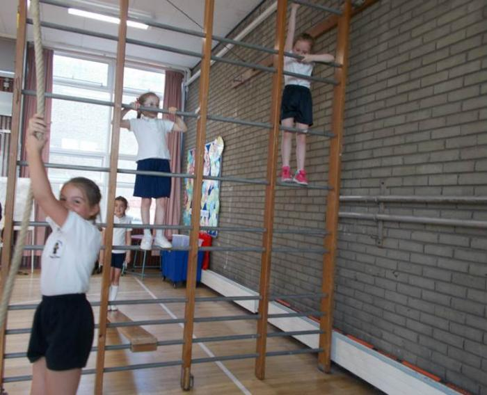 Gymnastics in our PE Hall