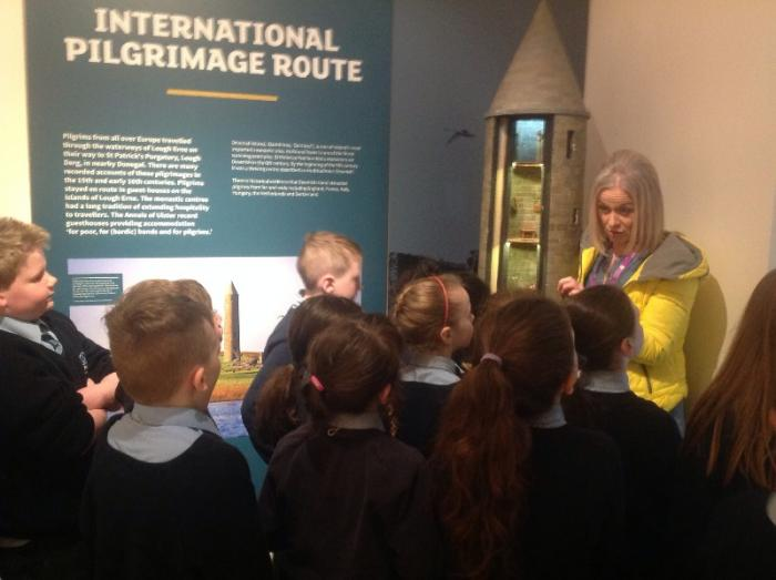 Learning about the Round Tower on Devenish