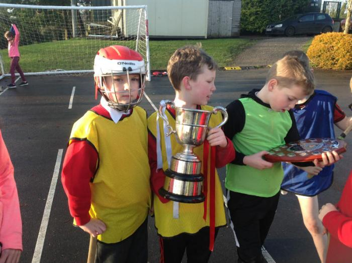 Tyrone Senior County Hurler Josh Ferguson attended our school and brought some cups and shields to show our keen hurlers.