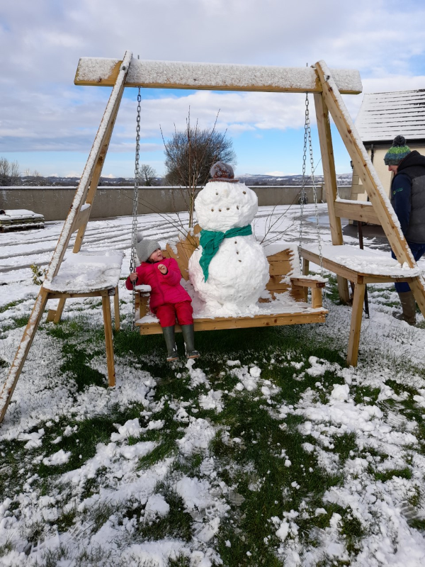 Swinging with my snowman