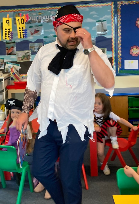 We had another pirate visitor. Pirate Fegan.