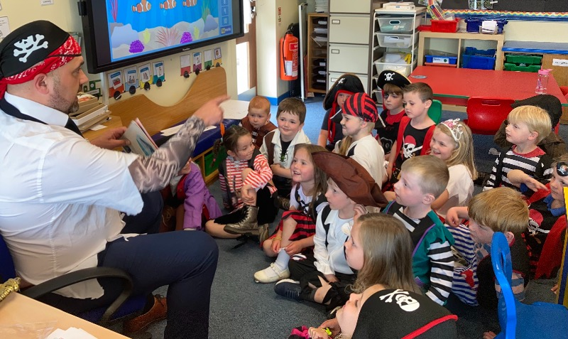 He read as a story about pirates and underpants!