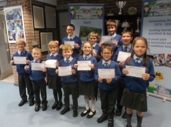 Academy Ace winners 7th October 2016