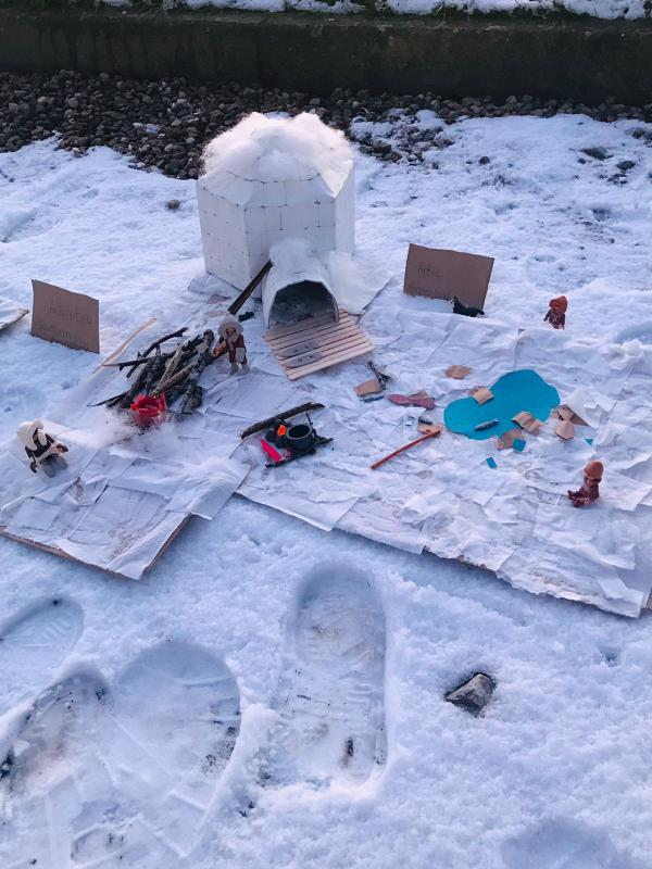 Cana's 3D Winter Art scene...I think we have a budding artist!
