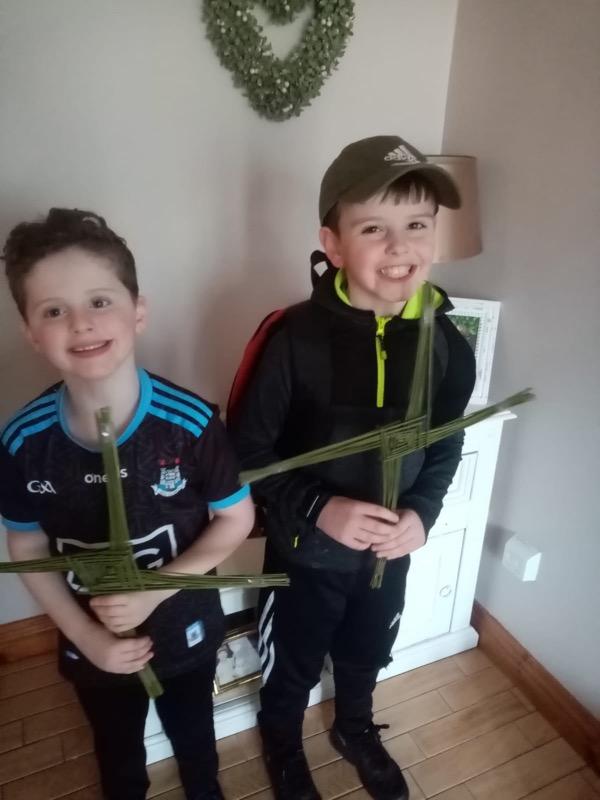 We helped to make St. Brigid's crosses.