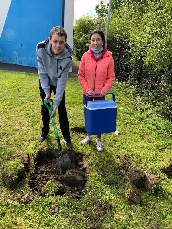 Our Head Boy and Head Girl with our time capsule in 2021
