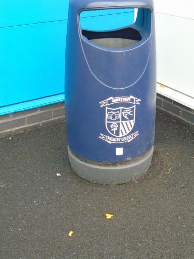 Orange peel beside the playground bin!