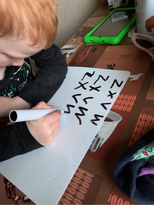 Patrick practising his Zig Zag monster letters!