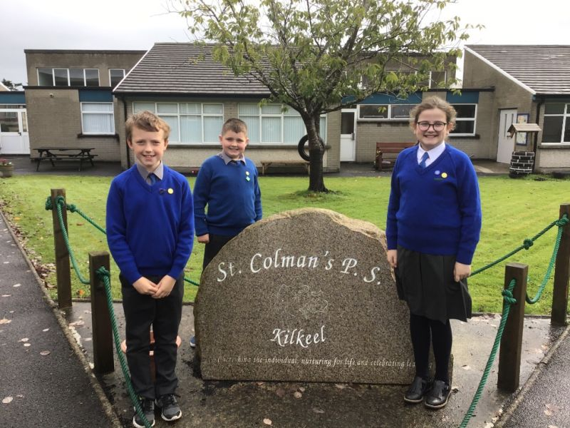 Introducing our Head Girl, Abbie Ferguson, Head Boy, Steven McGurgan and Chairperson of the School Council, James Cunningham.