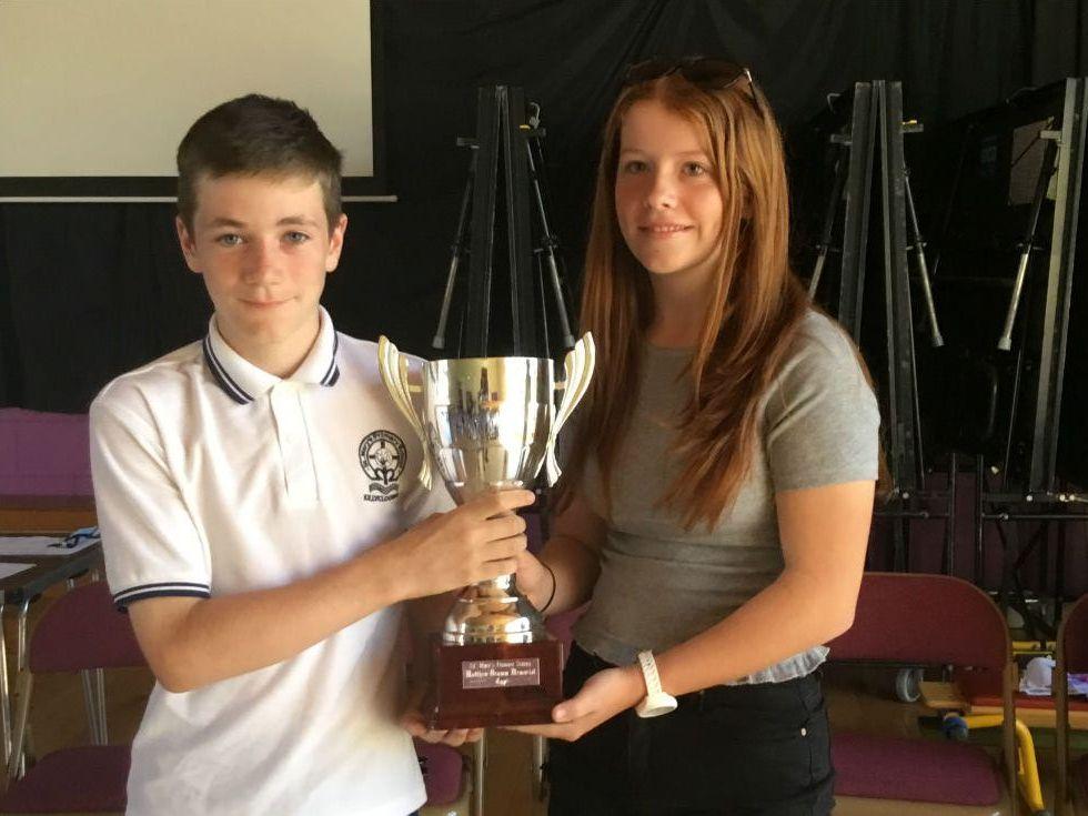 Taking over from Matthew Kerr (winner in 2017) is Ben Kelly receiving the Matthew Drumm Memorial Cup