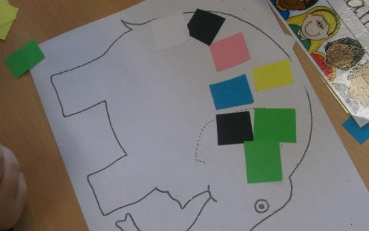 We made a patchwork Elmer.