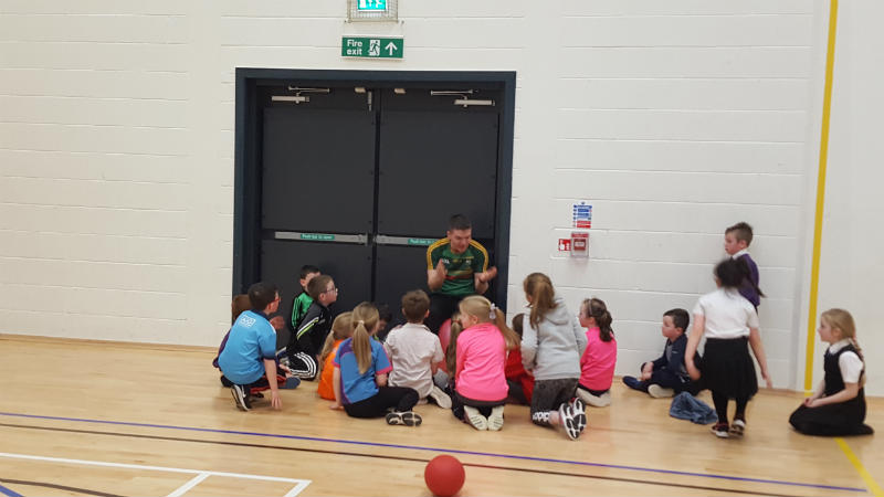Mr Gunning providing the children with a pep talk!