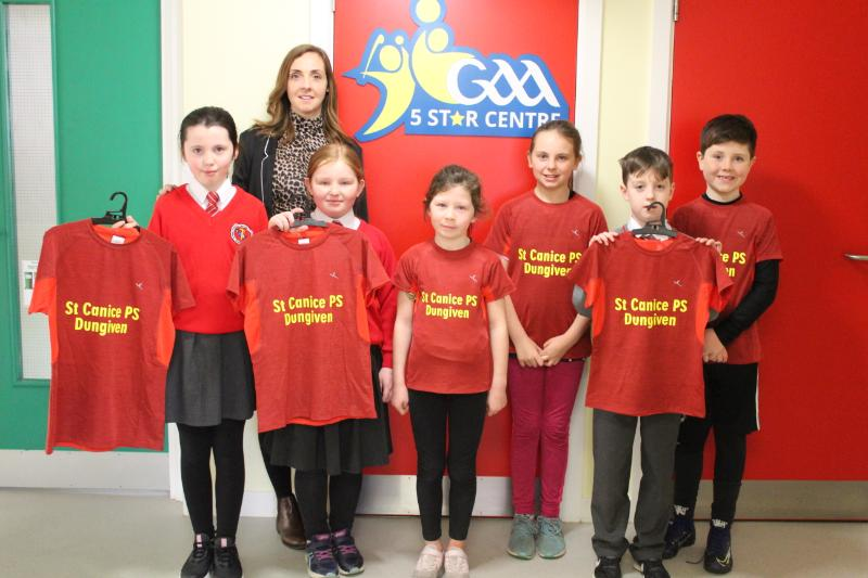 Nicola O'Kane, representing the Parents' Association, with our Cross country and Netball representatives