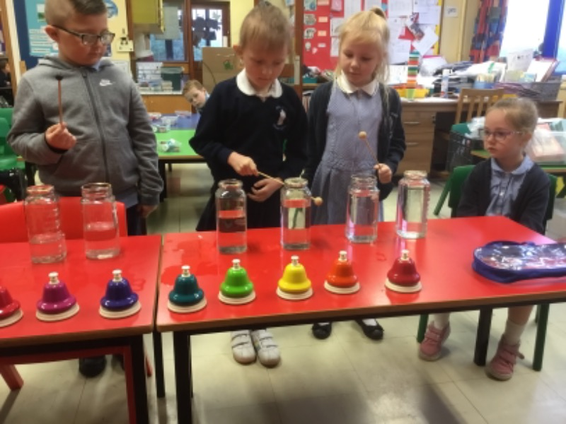 Exploring the sound of the jars and comparing it to the sound of our bells.