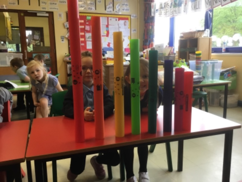 Sorting boomwhackers with our knowledge of a scale.