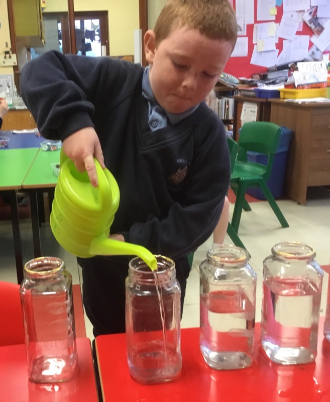 Filling jars with differing water levels.