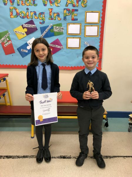 6th September 2019 From left to right; Ellen Henning – Little Princess Trust and Jack Henning – Players' Player of the Year  at Damolly FC
