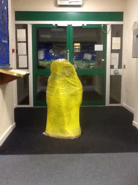 The best view Mrs Sales could have of the Snowman - all wrapped up and ready to go on tour ...at long last !!