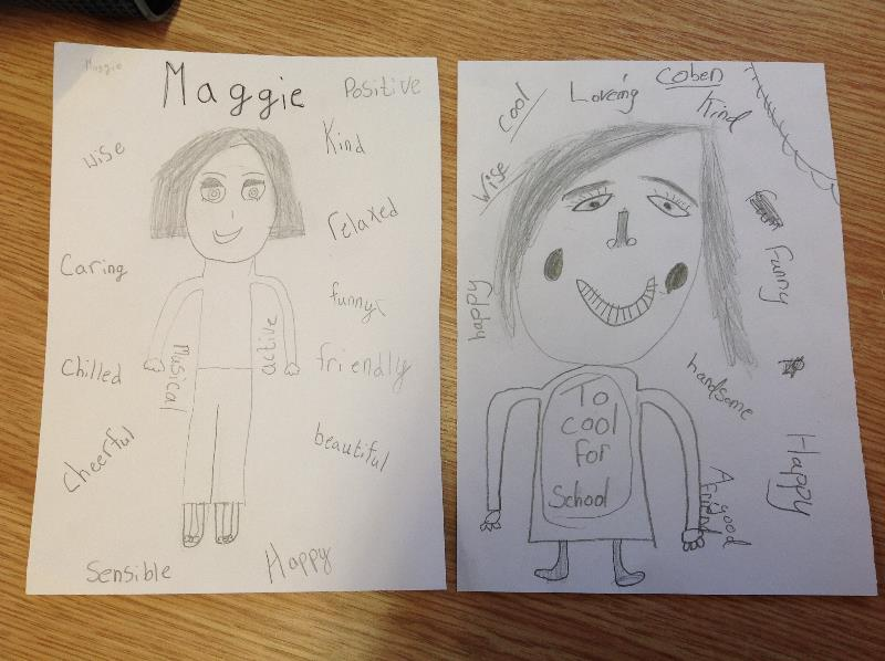 To encourage positivity and self-confidence we drew pictures of our partner and surrounded it with adjectives. A lovely way to start the week!