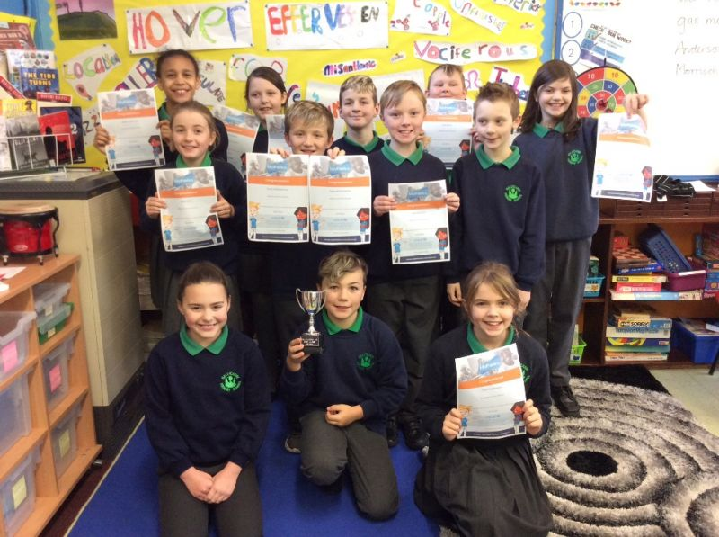 The victorious P6/7s celebrating having won the Class Cup for the 6th time this year! Also showing their Mathletics and Reading Eggs certificates. Well done everyone!