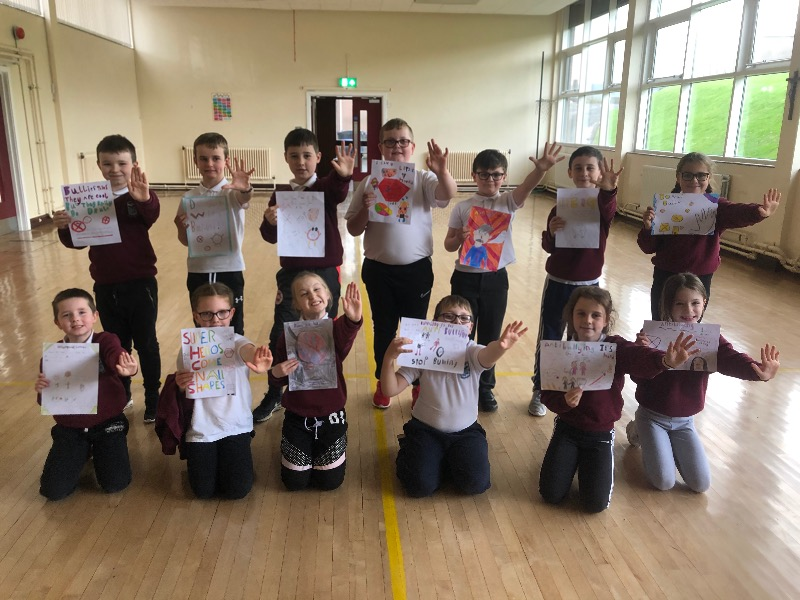 Primary 5 created eye-catching anti bullying posters to display in school. They enjoyed exploring the different types of bullying and strategies they could use in situations where bullying is happening through drama.