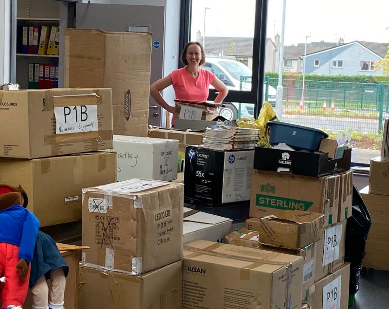 Surrounded by boxes!