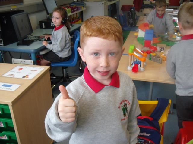 Lucas gives the thumbs up for Open Night