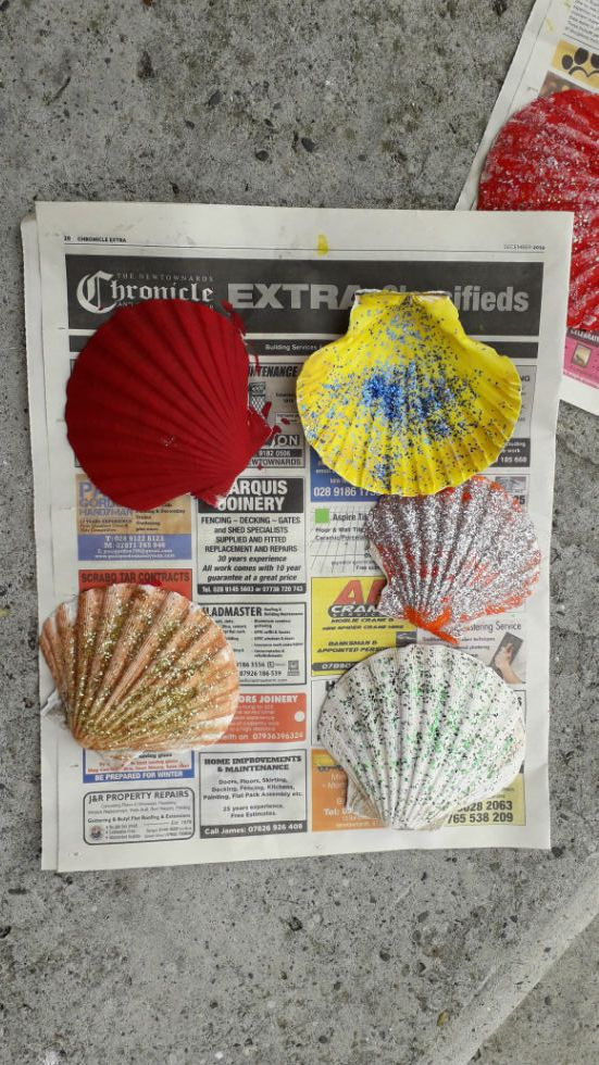 Seashells painted by Anna-Joy and Nathanael
