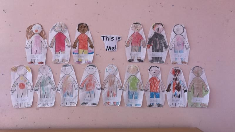 This month we have been learning all about what we look like. Here are some excellent self-portraits by the children!