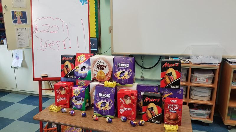 Primary Four and Five getting ready for the raffle- £221 raised!
