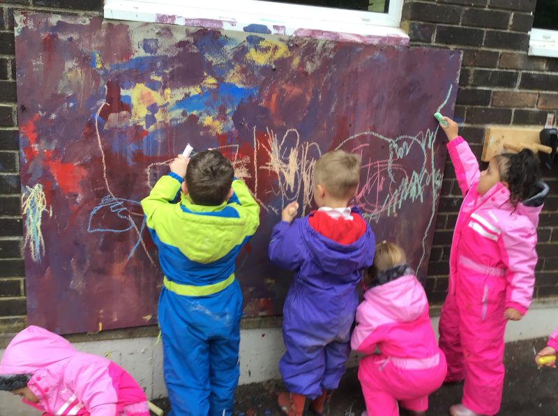 We love using the shared canvas for painting and chalk!